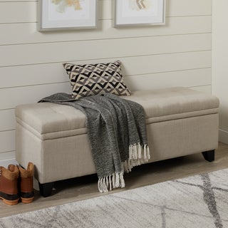 Abbyson Frankfurt Wheat Linen Tufted Double Storage Ottoman