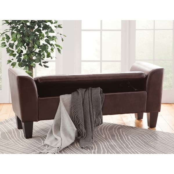 Admirable Shop Claire Upholstered Storage Bench Free Shipping Today Andrewgaddart Wooden Chair Designs For Living Room Andrewgaddartcom