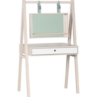 Voelkel Spot Collection White Facade/Grey Wood/Pine Finish/Glass Mirrored Dressing Table
