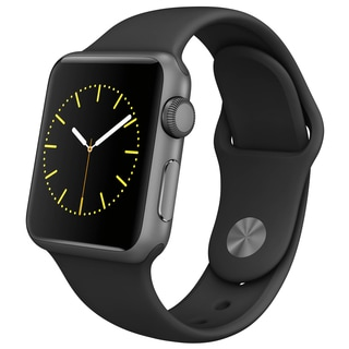 Apple Watch 38mm Space Gray Aluminum Case with Black Sport Band (Certified Refurbished)