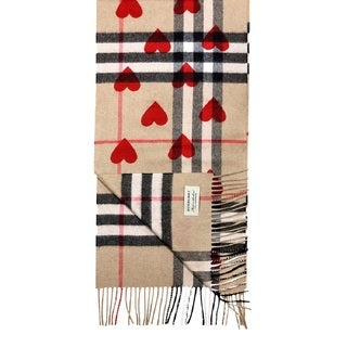 Burberry Beige Cashmere Classic Check Heart-print Scarf