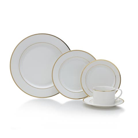 Mikasa Haley Gold/White Porcelain 20-piece Dinnerware Set