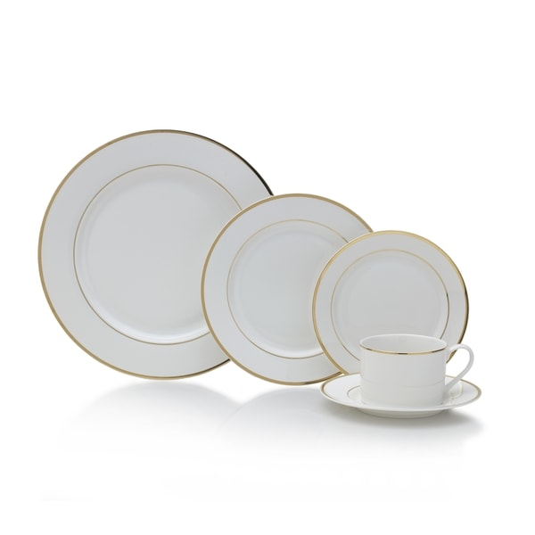 Mikasa Haley Gold/White Porcelain 20-piece Dinnerware Set  sc 1 st  Overstock.com & Shop Mikasa Haley Gold/White Porcelain 20-piece Dinnerware Set - On ...