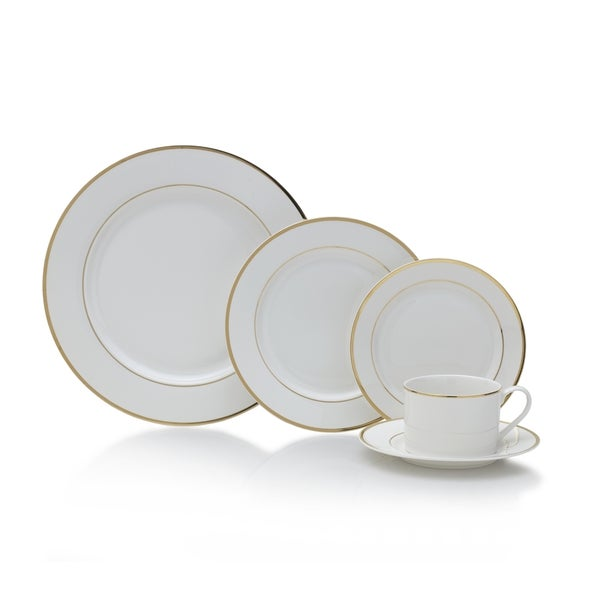 Mikasa Haley Gold/White Porcelain 20-piece Dinnerware Set  sc 1 st  Overstock.com & Mikasa Haley Gold/White Porcelain 20-piece Dinnerware Set - Free ...