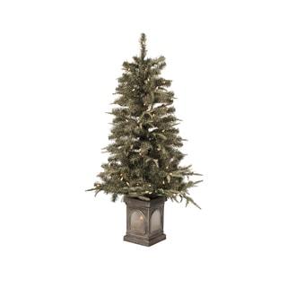 Multicolored Plastic/Metal Pre-lit flocked Christmas Tree