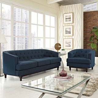 Coast Tufted Upholstered Sofa and Chair Living Room Set
