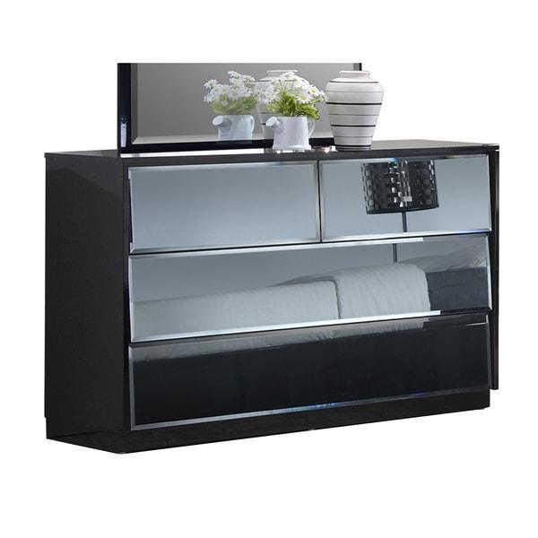 Somette Naples High Gloss Black 6 Drawer Dresser