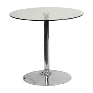 Offex Home Indoor Chrome Base Round Glass Table
