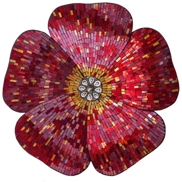 River Of Goods Red 22 Inch Mosaic Glass Flower Wall Decor