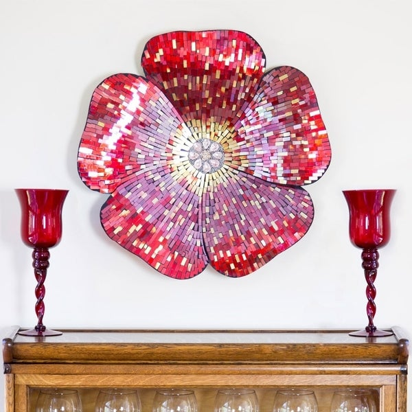 Shop River Of Goods Red 22-inch Mosaic Glass Flower Wall