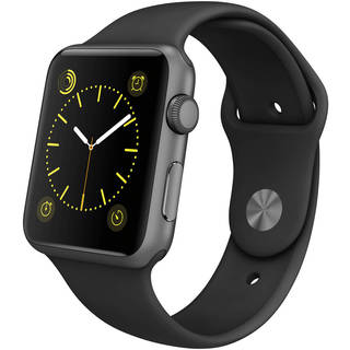 Apple Watch 42mm Space Gray Aluminum Case with Black Sport Band (Certified Refurbished)