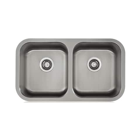 KBF & MORE Satin 18-gauge Stainless Steel Double-bowl Sink