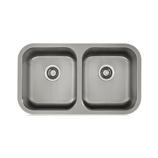 Lenova Satin 18-gauge Stainless Steel Double-bowl Sink