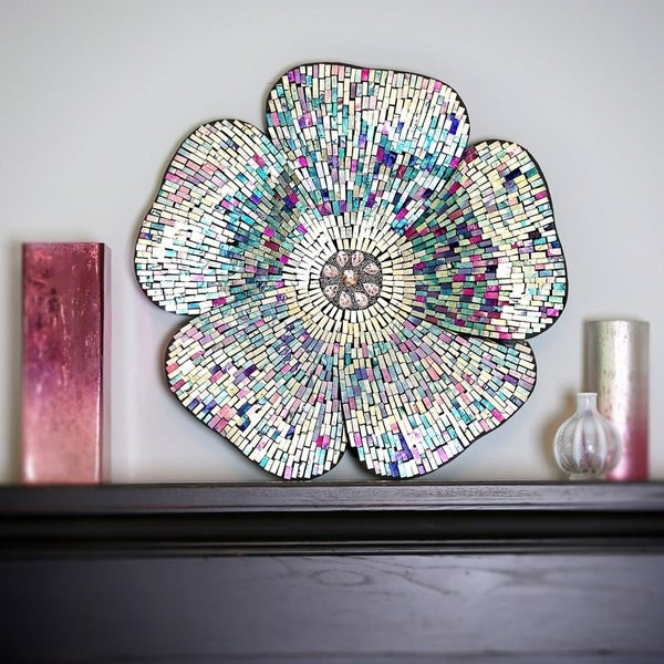 Shop Mosaic Blue Glass Flower Wall Decor Free Shipping Today