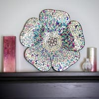 Mosaic Blue Glass Flower Wall Decor