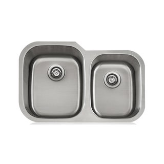 Double Unequal 18-Gauge Stainless Steel Sink