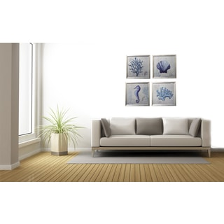 Coastal Collection Ocean Life 4-piece Contemporary Square Framed Wall Art