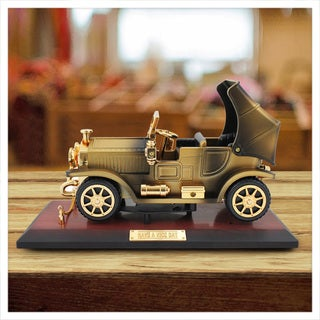 Jacki Design Brown Plastic Vintage Car Jewelry and Music Box