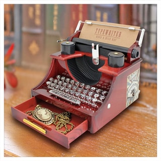 Jacki Design Brown Plastic Typewriter Music Box and Jewelry Holder