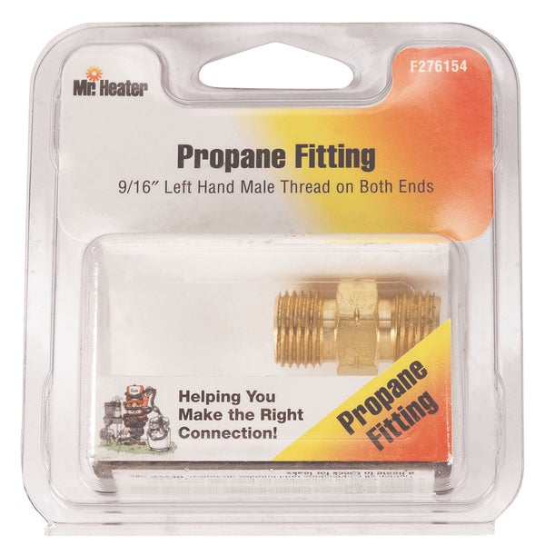 "Mr Heater F276154 9/16"" X 9/16"" Left Hand Male Pipe Propane Fitting"