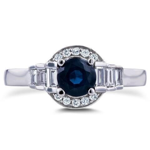 Annello by Kobelli 14k White Gold 7/8ct TCW Sapphire and Diamond Semi-Halo Ring