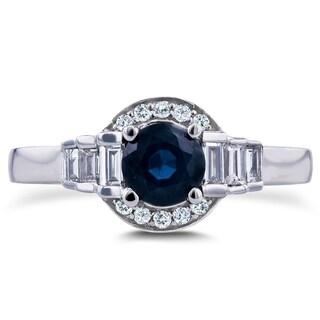 Annello 14k White Gold 7/8ct TCW Sapphire and Diamond Symmetric Semi-Halo Ring