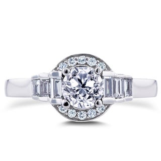 Annello 14k White Gold 4/5ct TDW Round and Baguette Diamond Symmetric Semi-Halo Ring (G-H, I1-I2)