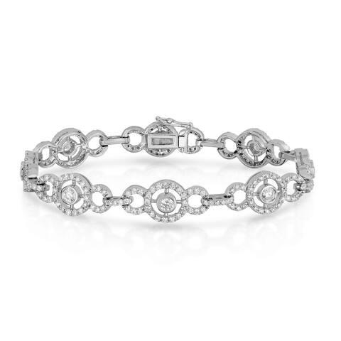 Noray Designs 14k White Gold 3 7/8ct TDW Diamond Circle Tennis Bracelet