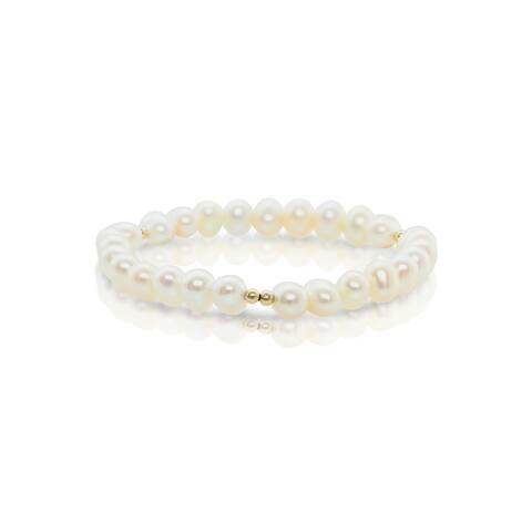 Pearlyta 14k Gold 4- to 5-millimeter Freshwater Pearls Children's Bracelet