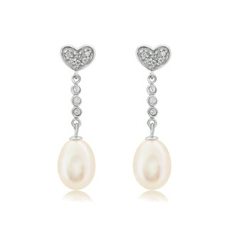 Pearlyta Sterling Silver Heart Freshwater Pearl Drop Dangle Earrings