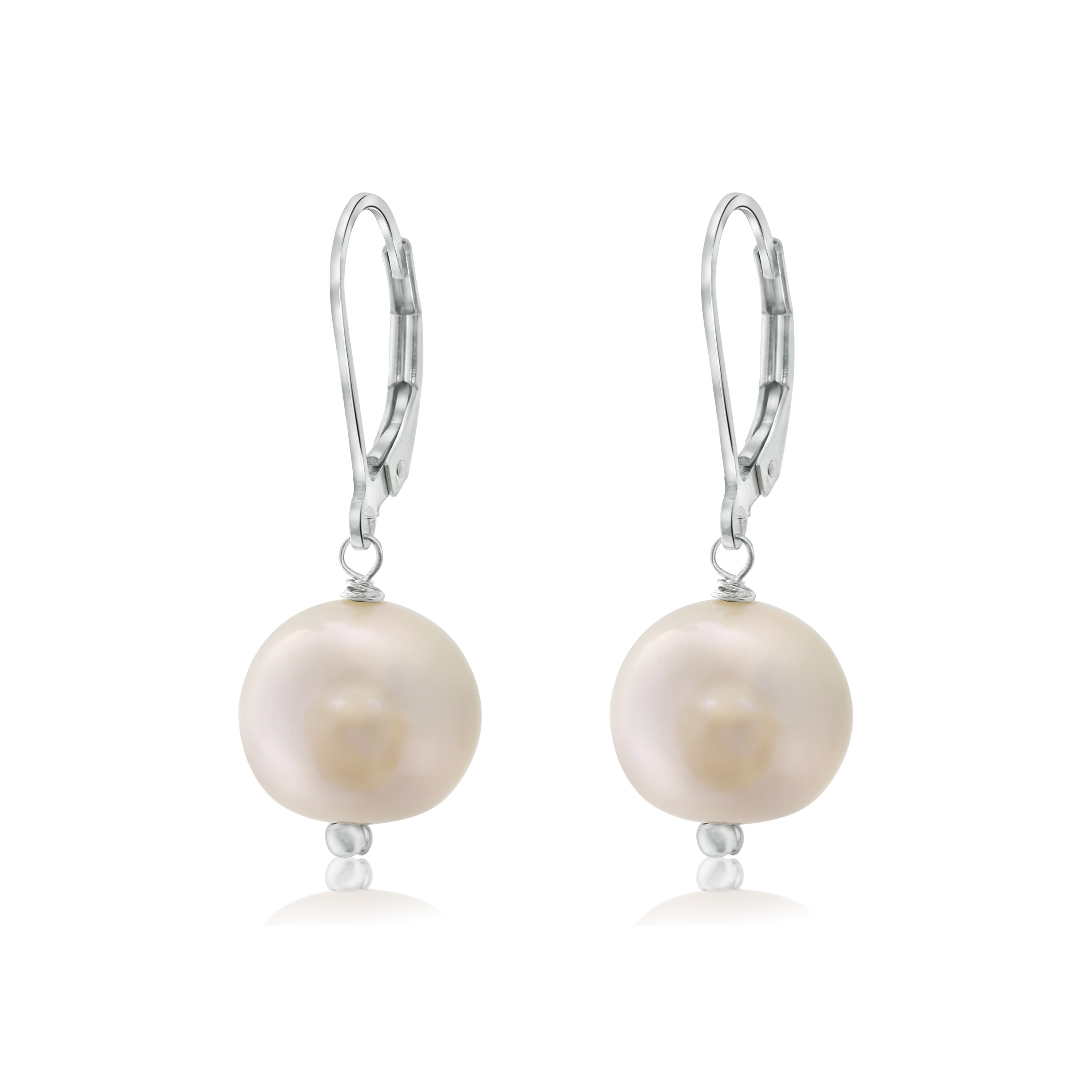 Sterling Silver Pearlyta White Pearl Leverback Earrings (...