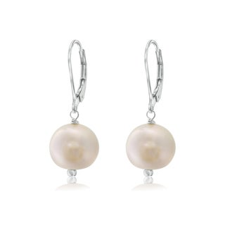 Pearlyta White Pearl/Sterling Silver Leverback Earrings