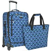 U.S. Traveler Langford Peacock-print 2-piece Carry-on Spinner Luggage Set