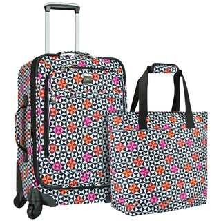 U.S. Traveler Langford Checker-print 2-piece Carry-on Spinner Luggage Set