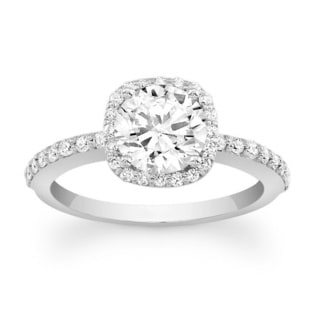 Barkev's Designer 14k White Gold 1 1/3ct TDW Diamond Halo Engagement Ring (F-G, SI1-SI2)