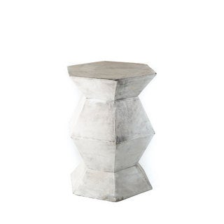 Eco-concrete Grey Jute and Concrete Hexagon Side Table