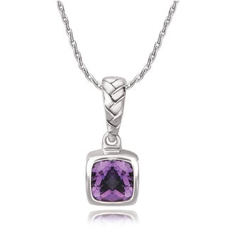 Avanti Sterling Silver Cushion Cut Amethst Woven Design Pendant Necklace