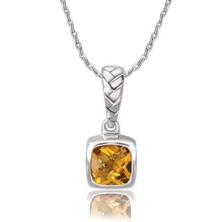 Avanti Sterling Silver Cushion Cut Citrine Woven Design Pendant Necklace
