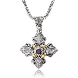 Avanti Sterling Silver and 18K Yellow Gold Round Amethyst Hammered Cross Pendant Necklace