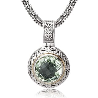 Avanti Sterling Silver and 18K Yellow Gold Round Green Amethyst Scroll Design Pendant Necklace