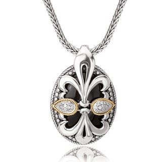 Avanti Sterling Silver and 18K Yellow Gold Fleur-De-Lis Design Oval Shaped Pendant with Diamond Accent Pendant Necklace