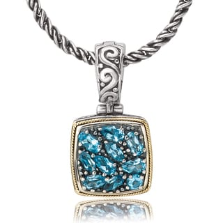 Avanti Sterling Silver and 18K Yellow Gold Blue Topaz Muliti-Shaped Composite Cushion Shaped Pendant Necklace