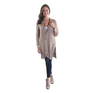 "Hadari Women's V-Neck Button Down Long Sleeve Cardigan Sweater with 2"" Slits"