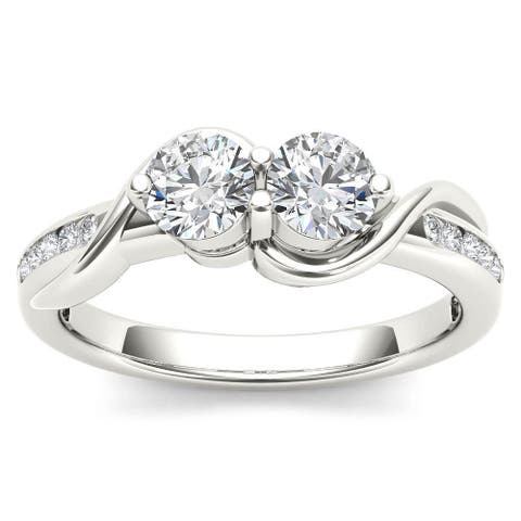 De Couer 10k White Gold 3/4ct TDW Two-Stone Diamond Engagement Ring - White H-I