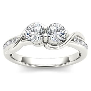 De Couer 10k White Gold 3/4ct TDW Two-Stone Diamond Engagement Ring