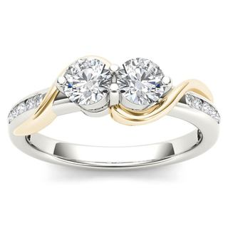 De Couer 10k Yellow Two-Tone White Gold 3/4ct TDW Two-Stone Diamond Engagement Ring
