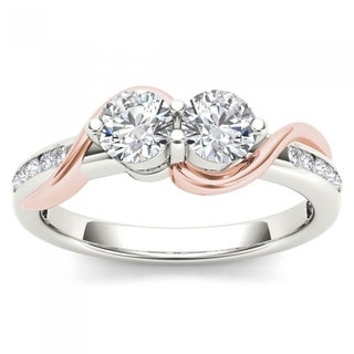 De Couer 10k Pink Two-Tone White Gold 3/4ct TDW Two-Stone Diamond Engagement Ring