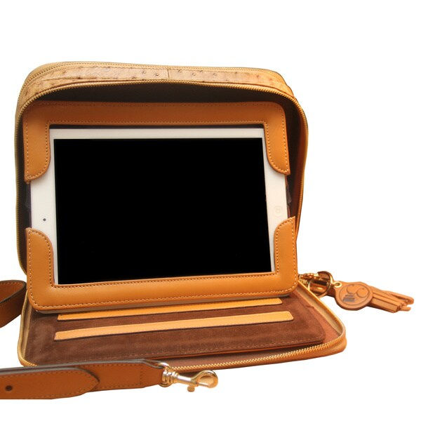 Brown Leather Ostrich-printed Tablet Case