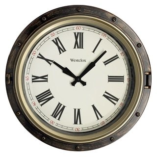 Westclox Two-Tone 15.75-inch Round Porthole Wall Clock