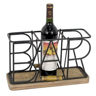 Wood/Metal Bar Wine Caddy
